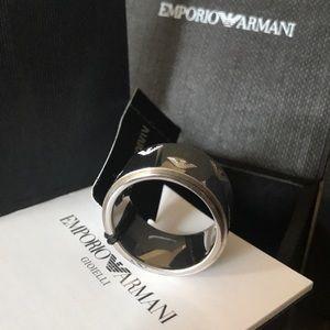 EMPORIO ARMANI Logo Silver Ring Size 6.5 New